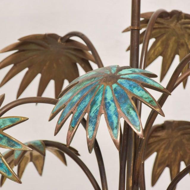 Pepe Mendoza 1950s Pepe Mendoza Palm Tree Table Lamp in Bronze & Malachite, Mexico For Sale - Image 4 of 11