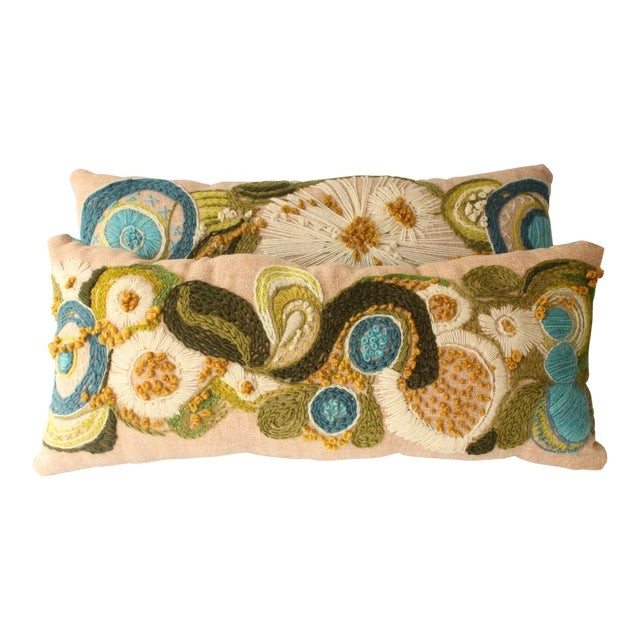 Abstract Floral Crewel Pillows - Pair - Image 1 of 6