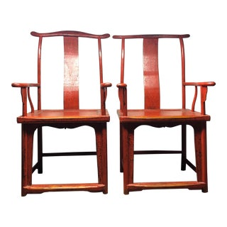 19th Century Red Yoke Back Hardwood Lacquered Side Chairs - A Pair For Sale