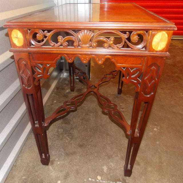 Maitland-Smith Inlay Mahogany Tea Table For Sale In Charlotte - Image 6 of 7