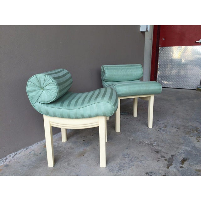 Hollywood Regency 1950s Hollywood Regency Sensual Curvaceous Vanity Stools - a Pair For Sale - Image 3 of 9
