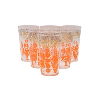1970s Mid Century Set of 6 Drinking Glass With Orange Print - Set of 6 For Sale