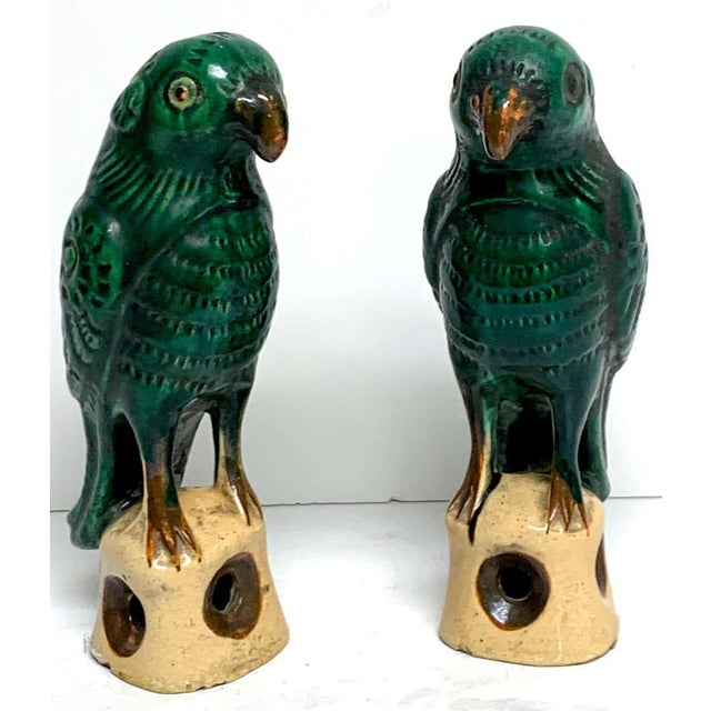 Pair of Chinese Export Porcelain Green Glazed Parrots For Sale - Image 11 of 12