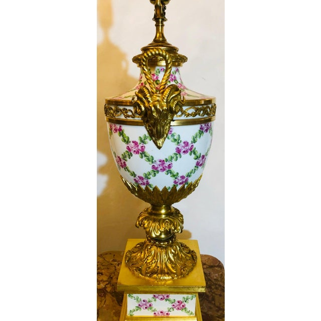Ceramic French Table Lamp Trellis Floral Porcelain Urn With Rams Head Gilt Bronze Mounts For Sale - Image 7 of 13