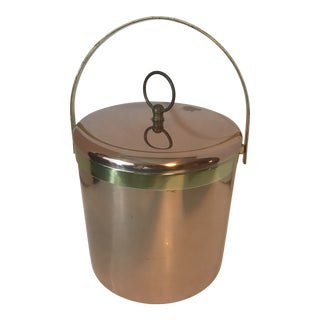1970s Polished Copper Brass Elco Ice Bucket For Sale