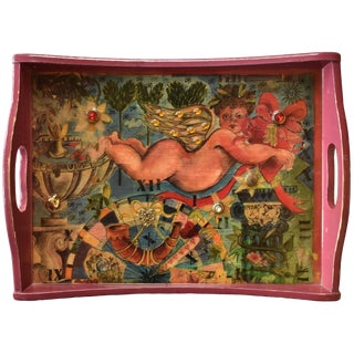 Embellished Decoupage Art Tray With Cupid For Sale