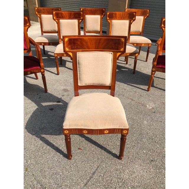 1910s Vintage Biedermeier Style Flame Mahogany Dining Chairs- Set of 8 For Sale - Image 9 of 13