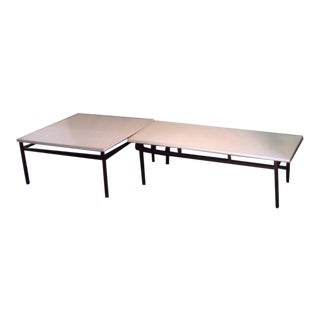 Vintage Knoll Style T Angle Rectangle Coffee Table and Square End/Corner Table 1960s For Sale