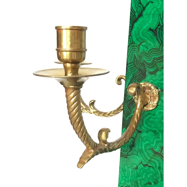 Maitland Smith Faux Malachite and Brass Finish Obelisk Candelabras - a Pair For Sale In Washington DC - Image 6 of 11