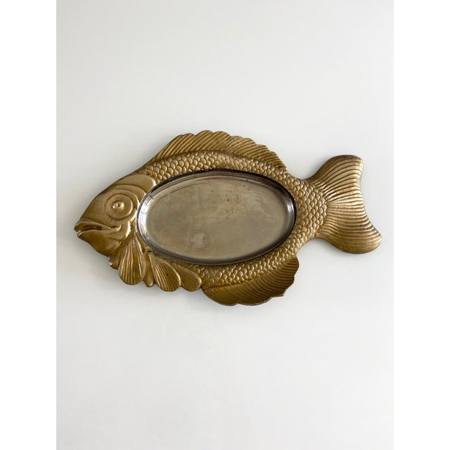Metal Mid Century Brass Fish Catchall For Sale - Image 7 of 7