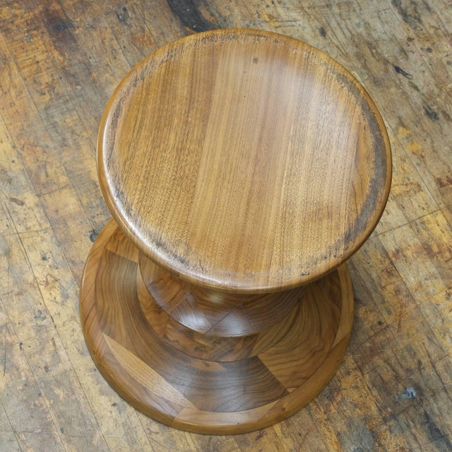 Mid-Century Modern 1970s Ray Eames Time Life Building Walnut Stool Table by Herman Miller Mad Men For Sale - Image 3 of 5