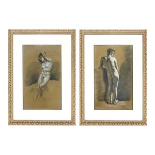 Drawings of Male Nude Figures attributed to Francois Boucher circa 1750 - A Pair For Sale