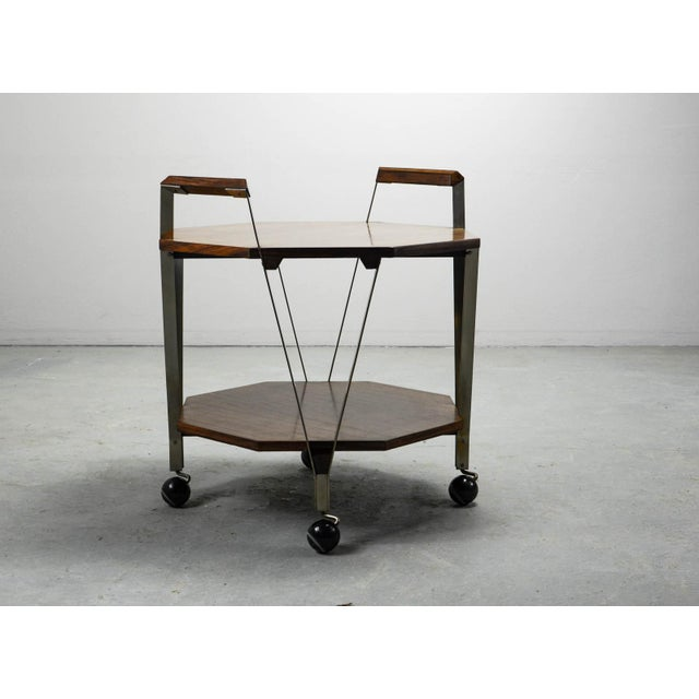 Ico Parisi Mid-Century Octagonal Serving Trolley Designed by Ico Parisi for Stildomus Milan, Italy, 1959 For Sale - Image 4 of 13