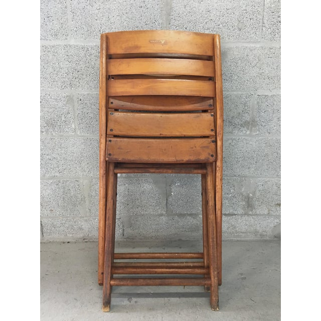 Vintage Rustic Slat Wood Folding Chairs - A Pair - Image 9 of 9