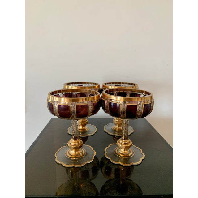 Gothic 1930s Moser Bohemian Crystal Cabochon Coupes- Set of 4 For Sale - Image 3 of 9