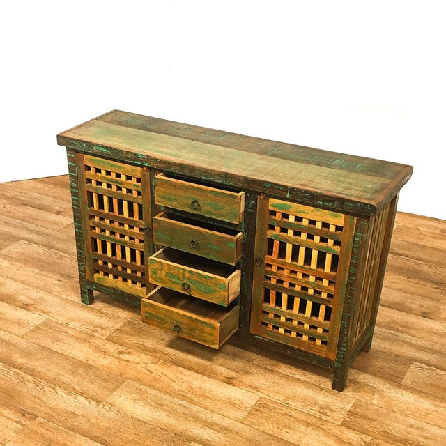 Save the Planet Handmade Reclaimed Solid Wood Buffet Sideboard For Sale - Image 4 of 7