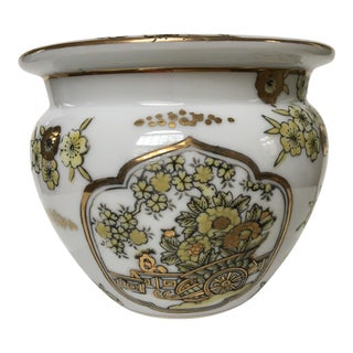 20th Century Japanese Gold Imari Hand Painted Cache Pot For Sale