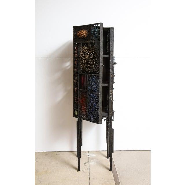"Brutalist James Bearden ""Segment Cabinet"" in Polychromed and Bronzed Steel For Sale - Image 3 of 13"