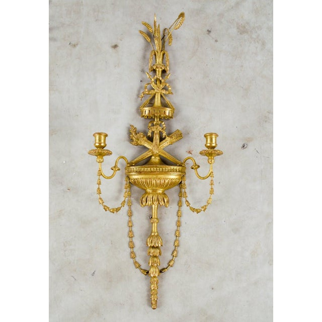 French 20th C. French Neoclassical Giltwood and Angel Sconces - a Pair For Sale - Image 3 of 13