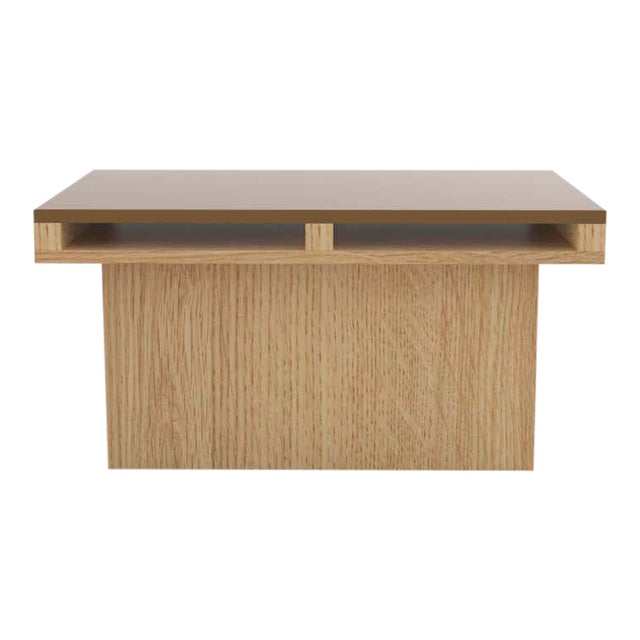 Contemporary 102 End Table in Oak and Brown by Orphan Work For Sale