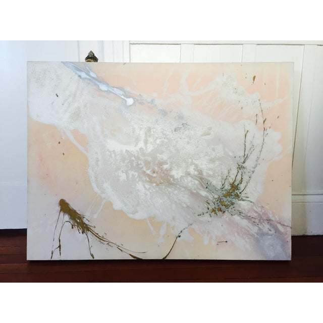 """Jacqueline Angove """"Peach Rose"""" Mixed Media Painting - Image 3 of 13"""