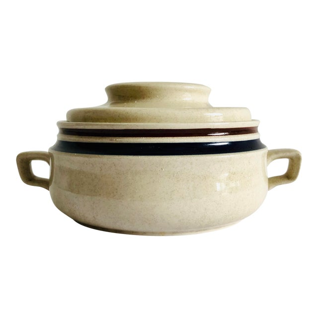 Modern Stoneware Hand Painted Chateau Lidded Bean Bowl For Sale
