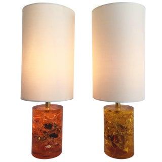 Pair of Fractal Resin Lamps, France, 1970s For Sale