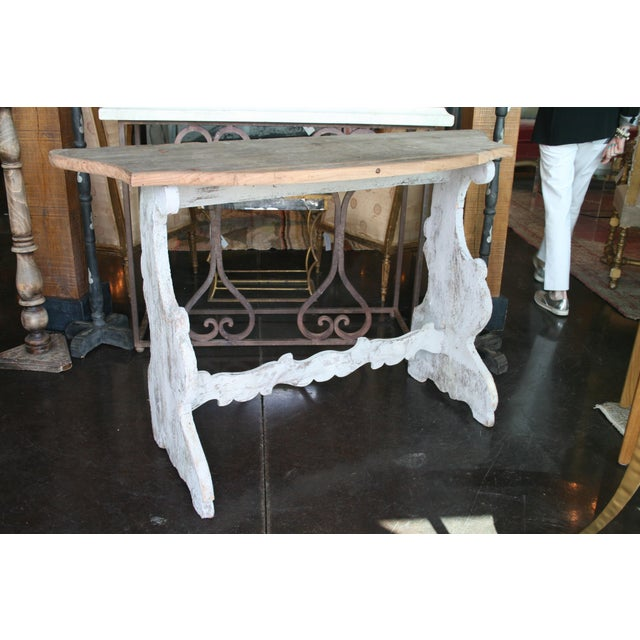 Gray Italian Demilune Trestle Style Console Table For Sale - Image 8 of 9
