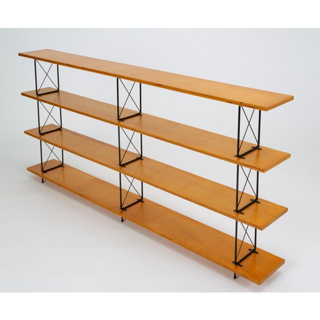 1950s Modernist Mahogany Bookshelf With Black Wire Frame For Sale - Image 5 of 13
