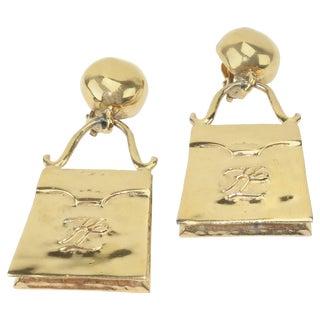 Karl Lagerfeld Whimsical Gilt Gold Handbag Logo Earrings, Circa 1990 For Sale