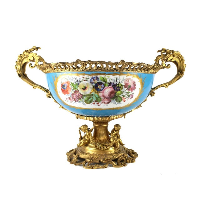 Rococo 19th Century Sevres Style Porcelain & Gilt Bronze Centerpiece For Sale - Image 3 of 5