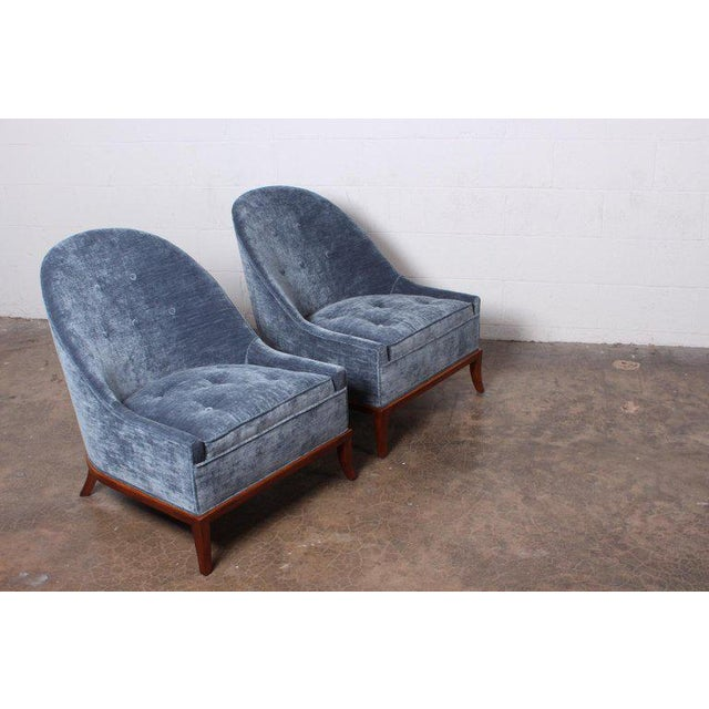 Textile Pair of Slipper Chairs by t.h. Robsjohn-Gibbings for Widdicomb For Sale - Image 7 of 12
