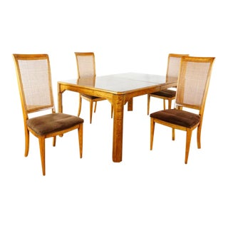 Contemporary Fruitwood Dining Set - 5 Pieces For Sale