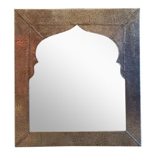 Moroccan Metal Inlaid Mirror For Sale