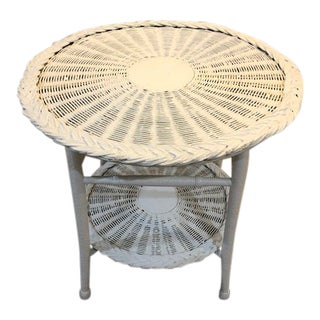 Vintage Wicker Two Tier Table For Sale