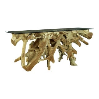 Organic Teak Console Table For Sale