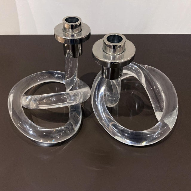 Dorothy Thorpe Dorothy Thorpe Lucite Vintage Candlesticks - a Pair For Sale - Image 4 of 10