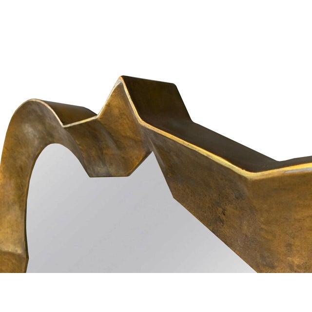 Transitional Burnished Gold Quatrefoil Mirror For Sale - Image 3 of 4