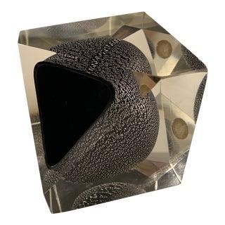 Vintage Mid Century Modern Glass Cube Sculpture For Sale