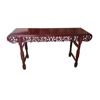 """Lg Chinese Vintage Huanghuali & Zitan Wood Altar Console Table 76.25"""" W by 40.5"""" H For Sale"""