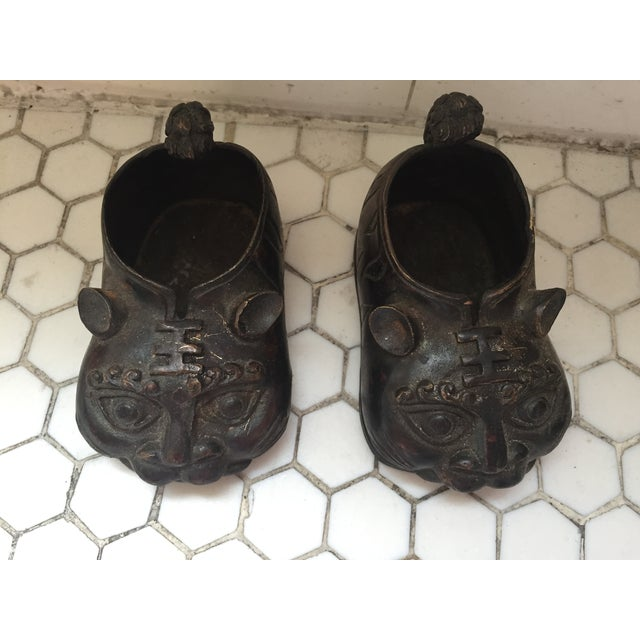 Chinese Brass Animal Shoes - A Pair - Image 6 of 8