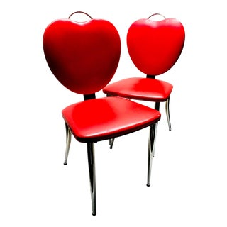 Mid Century Heart Shaped Diner Chairs- a Pair For Sale