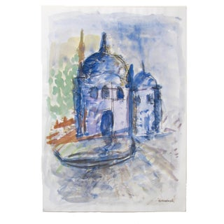 Istanbul in Blue Watercolor Painting For Sale