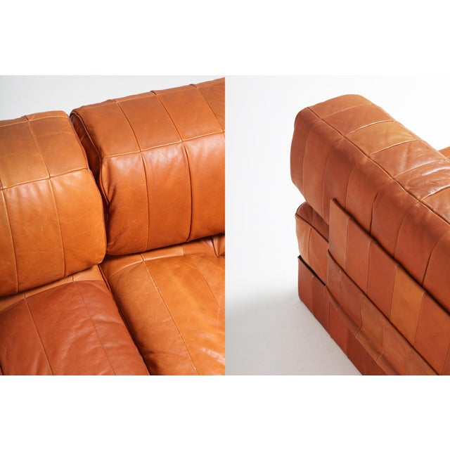 Animal Skin Cognac Leather Patchwork Ds 88 De Sede Sectional Sofa For Sale - Image 7 of 11