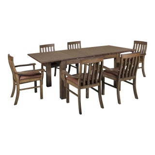Crafters and Weavers Mission Style Square Leg Dining Table Set - 7 Pieces For Sale