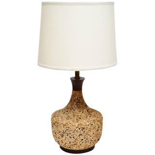 Scandinavian Modern 1960 Cork and Teak Table Lamp For Sale