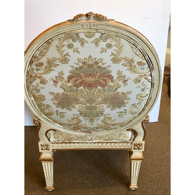 Pair of Louis XVI Style Carved Giltwood Bergère Chairs With Scalamandre Fabric For Sale - Image 10 of 13