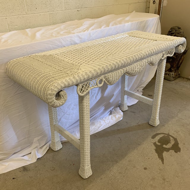 Asian Style White Wicker Console Table For Sale - Image 4 of 11