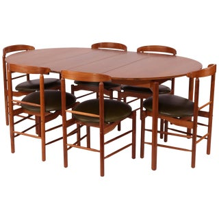 Stunning Greta Grossman Walnut and Leather Dining Chairs and Table For Sale