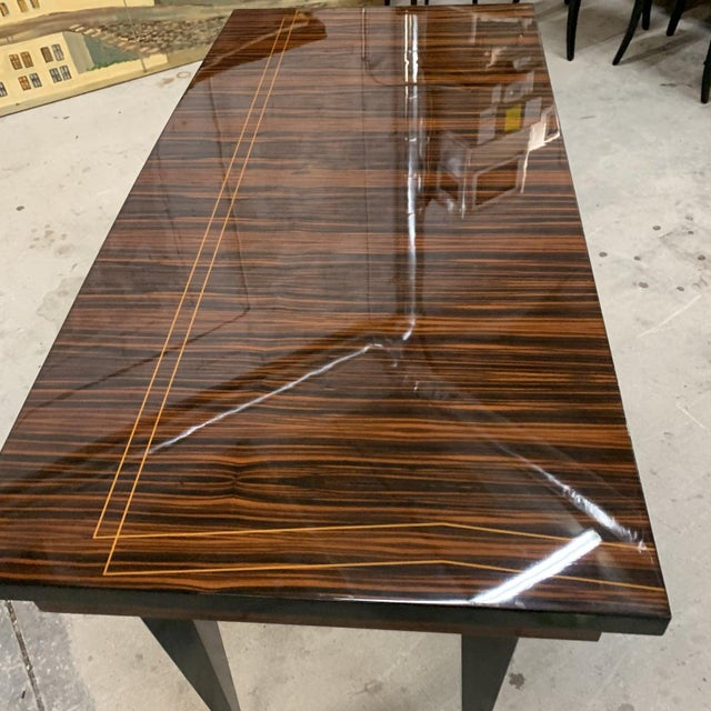 Metal 1940s French Art Deco Macassar Ebony Writing Desk For Sale - Image 7 of 13